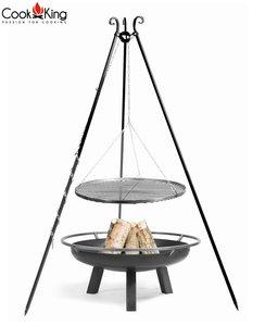 Cookking Grill(set): rooster met tripod(recht,180cm) + vuurschaal Bangui/Porto