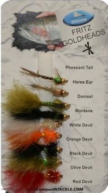 Dragon Std Fly Selection- Fritz Goldheads (10)