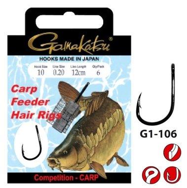 Gamakatsu - hakenboekje carp feeder hair rigs haak 12 line 0.18 40cm