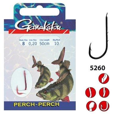 Gamakatsu - hakenboekje perch / barsch 5260R haak 4, 0.25mm 50cm