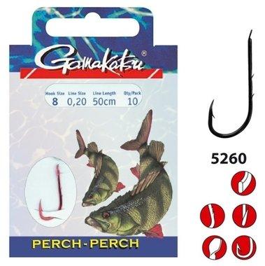 Gamakatsu - hakenboekje perch / barsch 5260R haak 10, 0.18mm 50cm