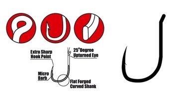 gamakatsu - haak wide gape super met oog size 8,