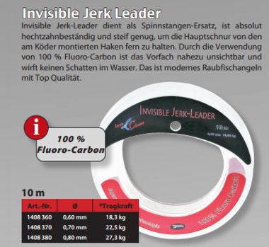 Iron Claw - fluoro Carbon invisible jerk leader 0.60mm 18.30 kg  10mtr