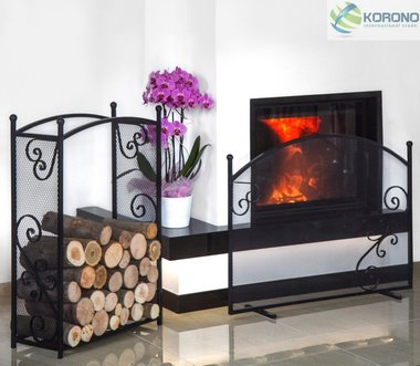 Korono Set haardscherm + houtstandaard