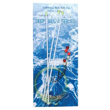 Deep Blue Flat Sea Rig 3-Arm Luminous 3-Haaks H4
