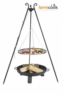 Farmcook grill Viking with fire bowl 37 black steel grate 60/70/80 cm