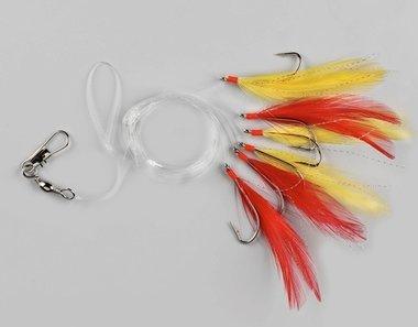 spro - Makreel veren paternoster 6 haaks rood/geel 4745-046