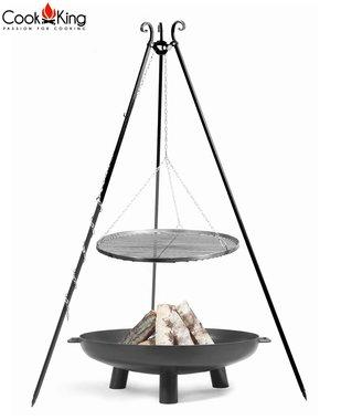 Cookking Grill(set): rooster met tripod(recht,180cm) + vuurschaal Bali/Gabarone