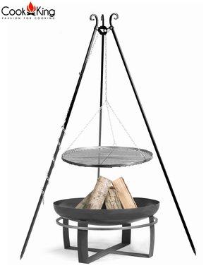 Cookking Grill(set): rooster met tripod(recht,180cm) + vuurschaal Gitega/Viking