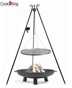 Cookking Grill(set): rooster met tripod(recht,180cm) + vuurschaal Gabarone/Bali + haspel