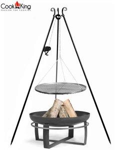 Cookking Grill(set): rooster met tripod(recht,180cm) + vuurschaal Gitega/Viking + haspel